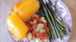 Запеченная спаржа, томаты, чеснок и сладкий перец// Веганский обед
