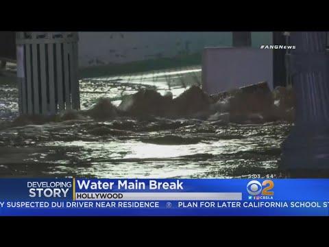 Water Main Break Shuts Down Cahuenga Blvd. In Hollywood