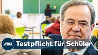 Ministerpräsident armin laschet (cdu) hat eine corona-testpflicht für schüler in nordrhein-westfalen angedroht. der zdf-sendung «markus lanz» verwies lasc...