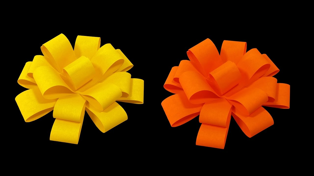 How To Make Paper Flower Bow Very Easy Hd Youtube