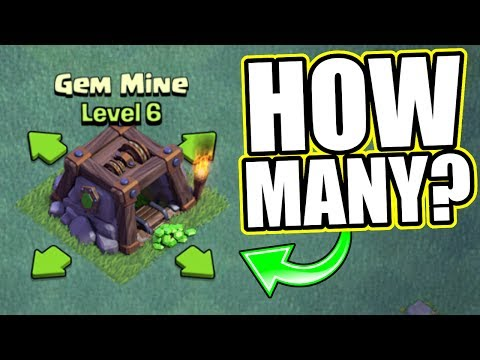 HOW MANY FREE GEMS DOES A LEVEL 6 GEM MINE PRODUCE AT BUILDERS HALL 6!? - Clash Of Clans
