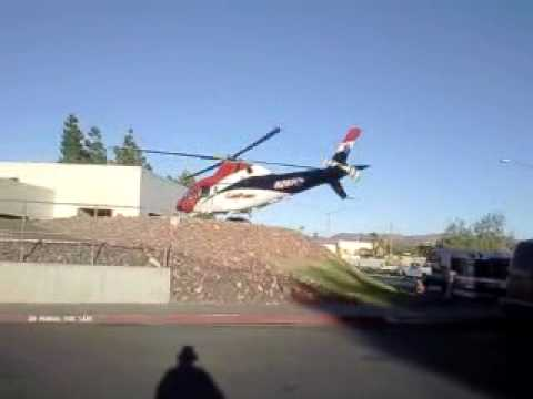 Tri City Car Flight Flight for Life Helicopter take off from St Rose DeLima Hospital