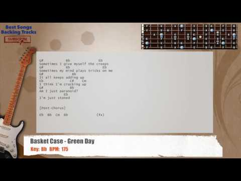 Basket Case - Green Day Guitar Backing Track with chords and lyrics