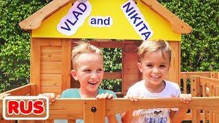 Влад и Никита строят деревянный домик для детей