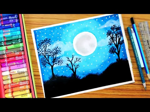 How To Draw Easy Landscape painting || step by step for kids || using oil pastels