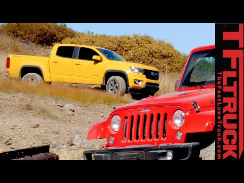 Chevy Colorado Z71 Trail Boss vs Jeep Wrangler Off-Road Mashup Review