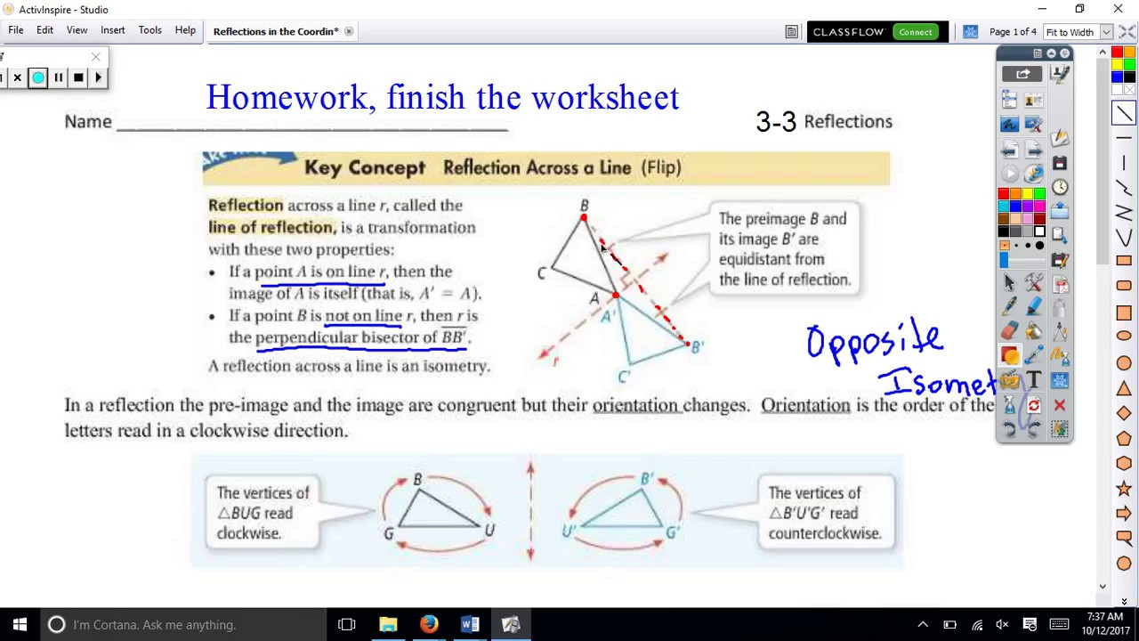 3 3 Reflections In The Coordinate Plane Youtube