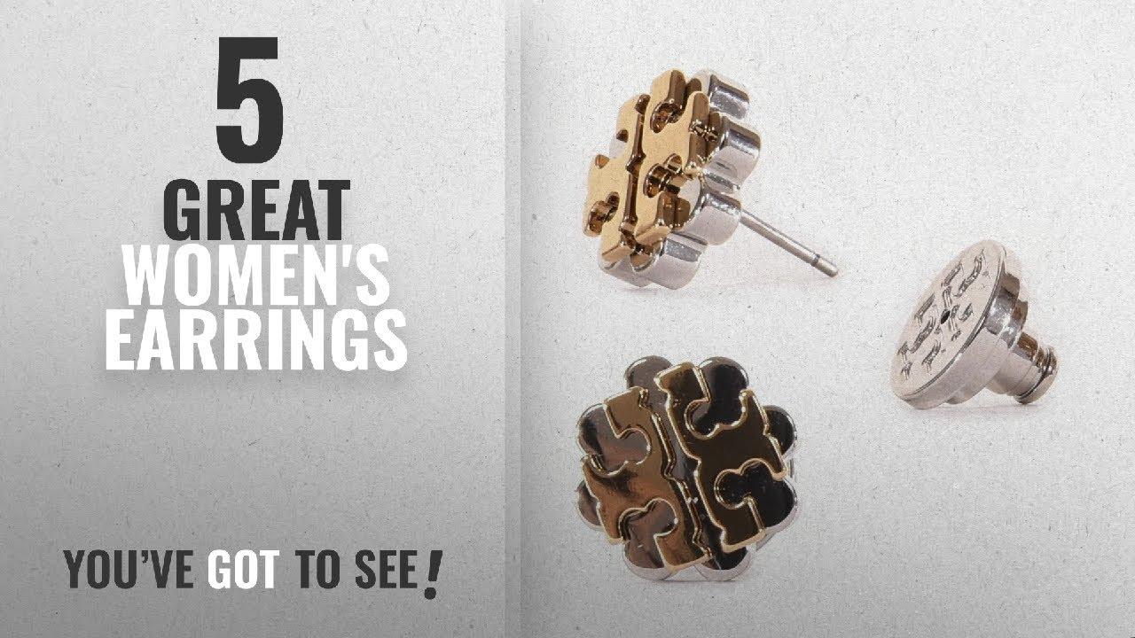 f7119d4f8 10 Best Tory Burch Earrings [2018]: Tory Burch Logo Flower Two-Tone Stud  Earrings, Gold ...