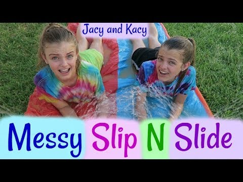 Gross & Messy Slip N Slide Challenge ~ Jacy and Kacy