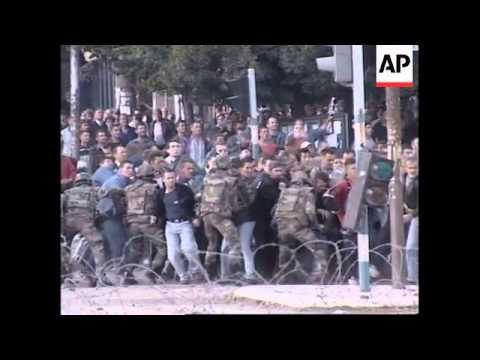 KOSOVO: MITROVICA: PROTESTORS CLASH WITH K-FOR TROOPS