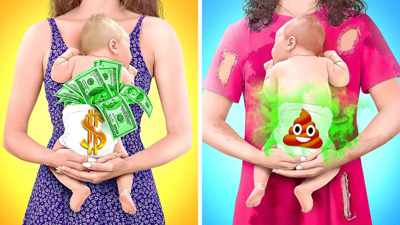 EMBARAZADA RICA VS. EMBARAZADA POBRE || Momentos divertidos del embarazo por 123 GO! GOLD