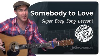 Скачать Somebody To Love Jefferson Airplane Easy Beginner Guitar Lesson BS 306 How To Play Guitar