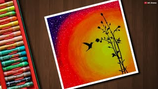 Easy Bird Sunset scenery drawing with Oil Pastels - step by step