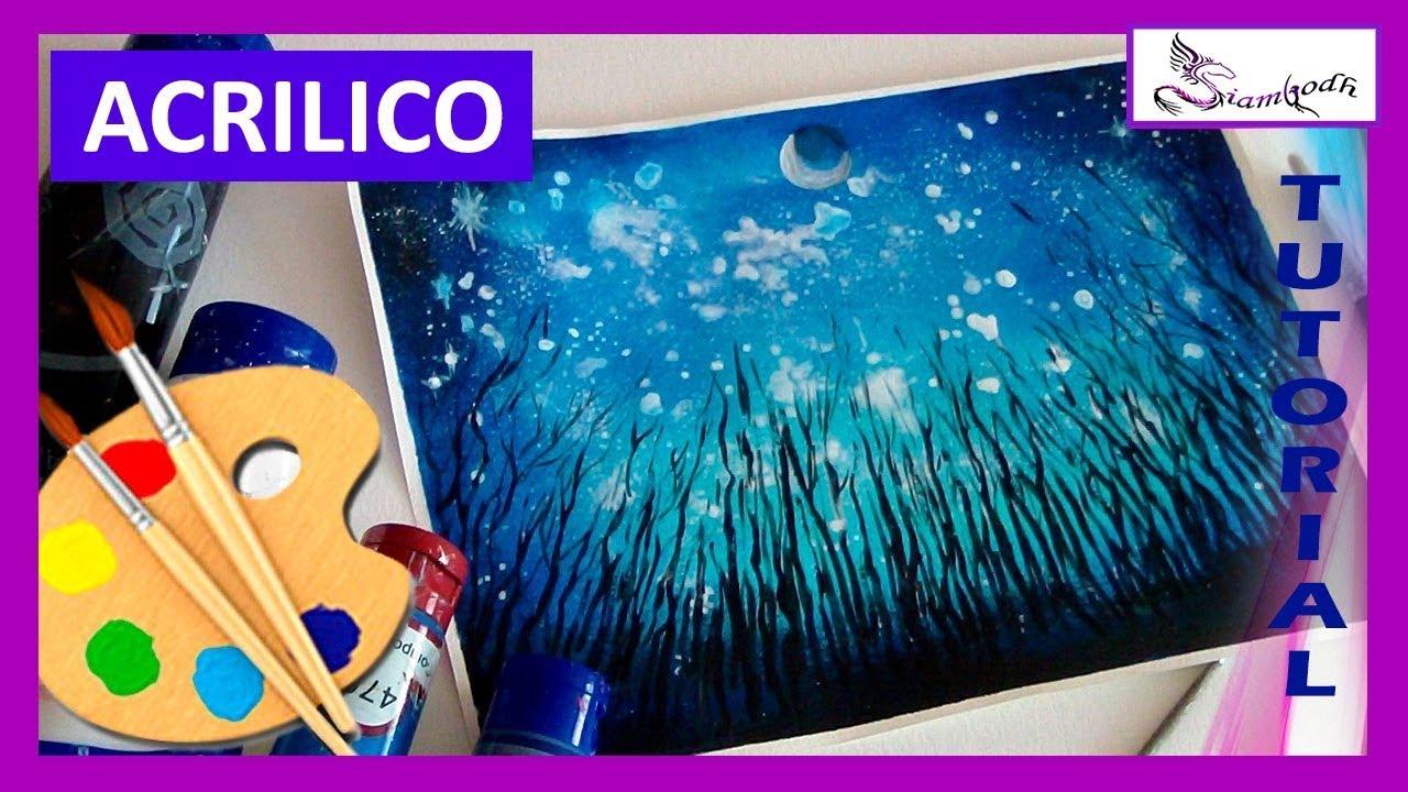 Como Pintar Bosque Nocturno Cielo Estrellado En Pintura Acrílica