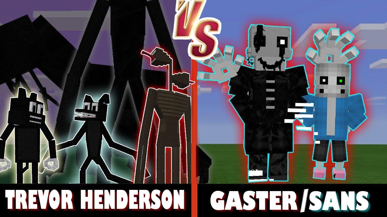 Trevor Henderson Creatures vs. Gaster and Sans | Minecraft (FATHER & SON BATTLE!)