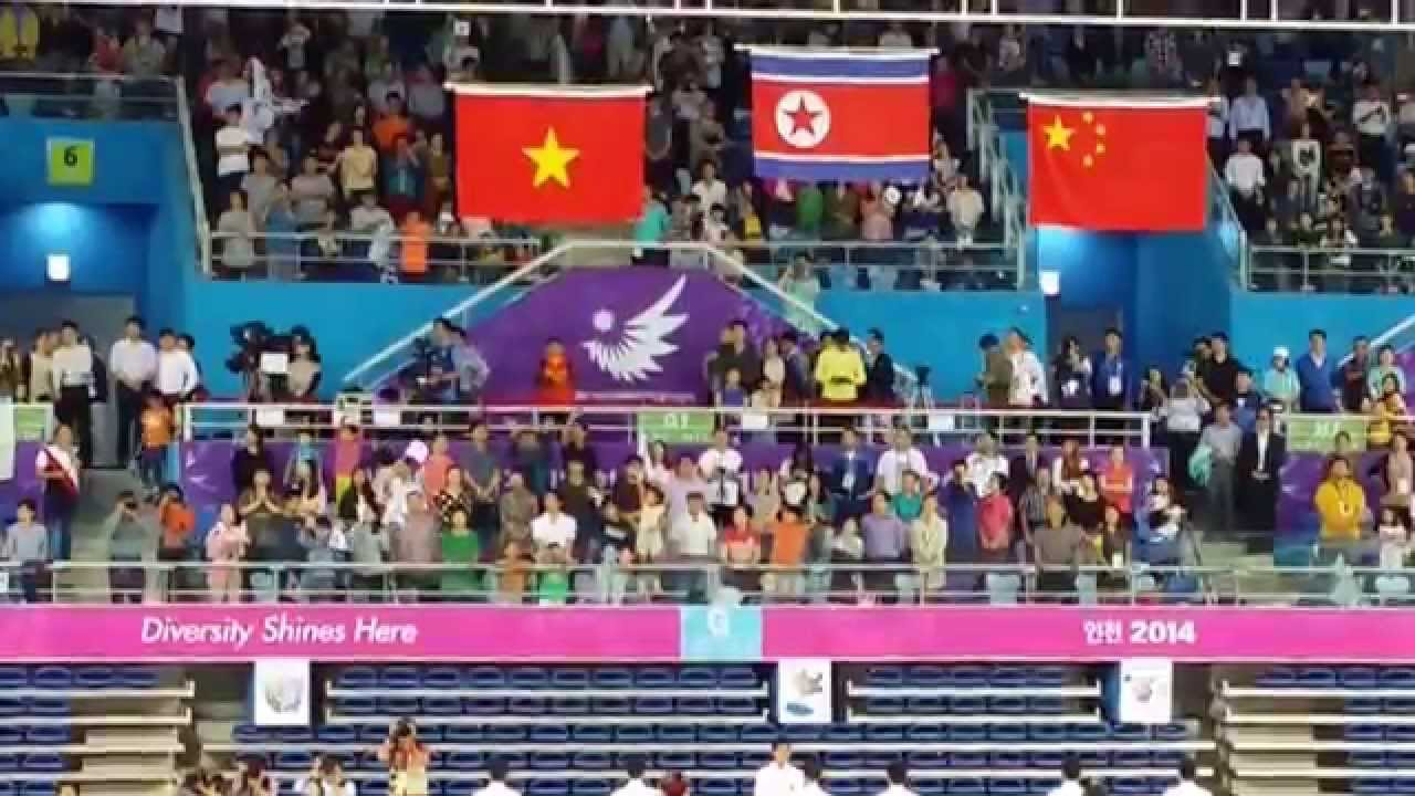 North Korean National Anthem - Gold Medal Balance Beam - Asian Games 2014