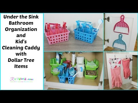 Under the Sink Bathroom Organization and Kid's Cleaning Caddy with  Dollar Tree Items