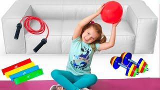Nicole y mamá hacen ejercicios matutinos y practican deportes. Quiere ser delgada, hace ejercici
