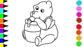 POOH BEAR Drawing And Coloring For KIDS ! ANIMAL Coloring Videos ! KIDS Learn Color