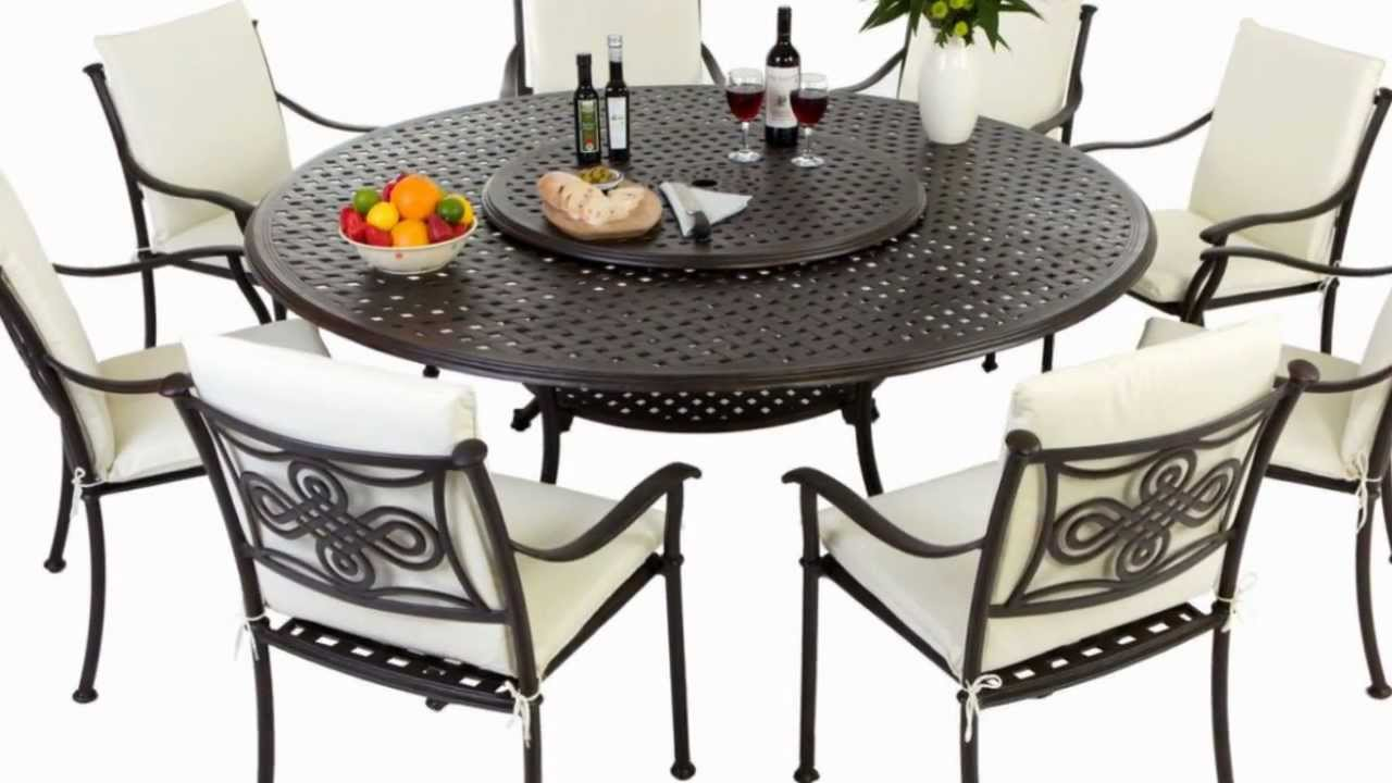 Round Table Patio Furniture Sets Round 8 Seater Metal Outdoor Furniture Set With High Back Cushions