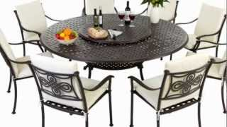 Round 8 Seater Metal Outdoor Furniture Set With High Back Cushions
