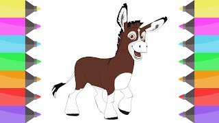 How to draw Donkey Bo from The Star Movie   Coloring Pages for Kids ! Learn colors