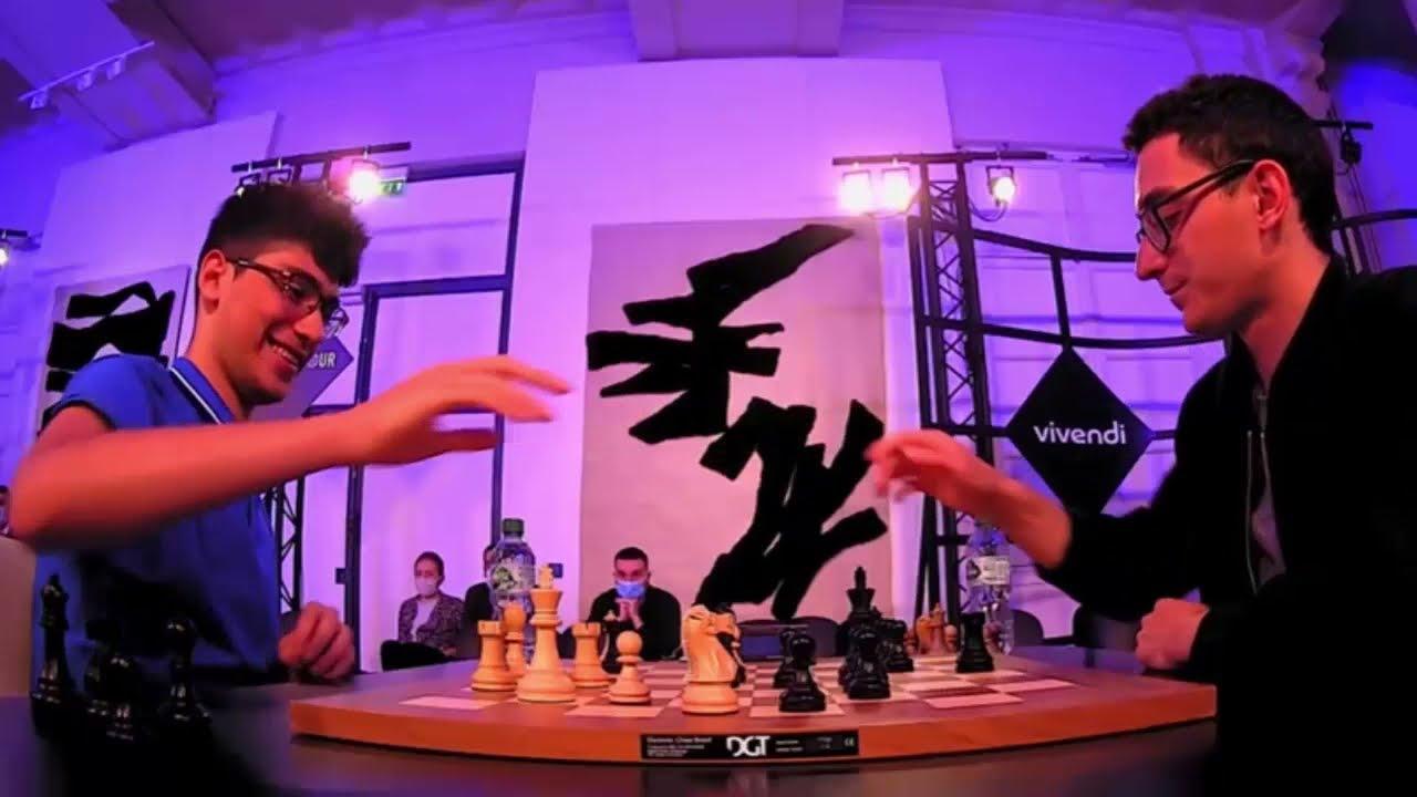 Download SUPER FABI!! Alireza Firouzja vs Fabiano Caruana || Paris Blitz Chess 2021 - Round 8