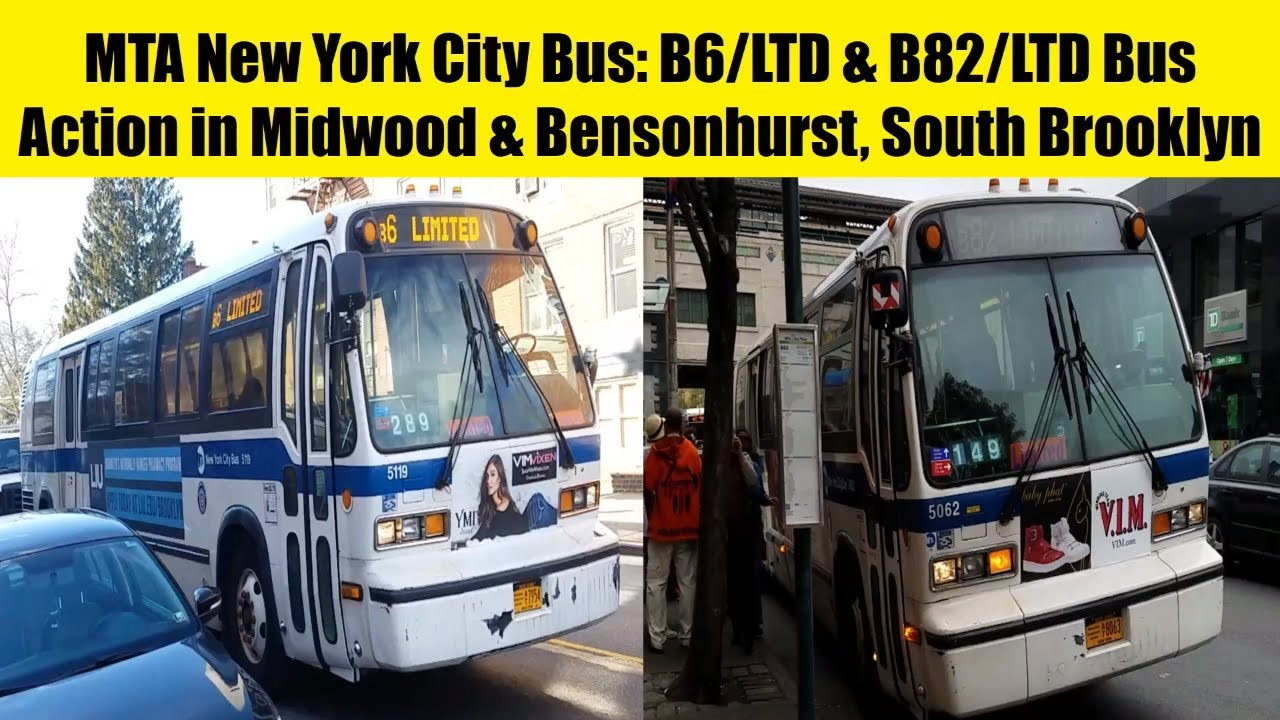 mta new york city bus: b6, b6ltd, b82, & b82ltd bus action in south