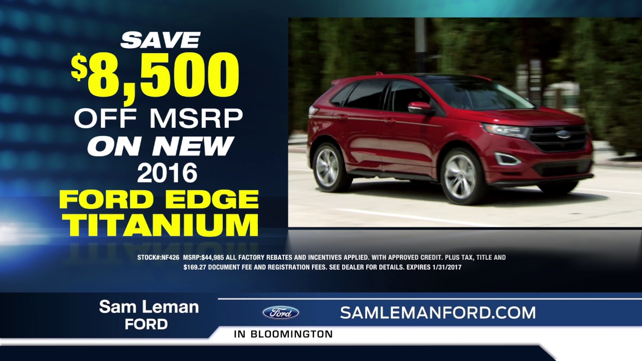 Sam Leman Bloomington >> Sam Leman Toyota Ford Your Bloomington Ford Dealer 01 2017 Youtube