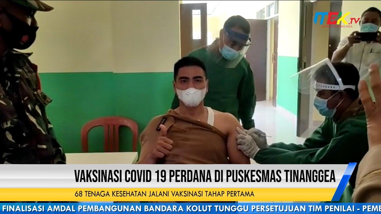 Vaksinasi Covid 19 Perdana di Puskesmas Tinanggea
