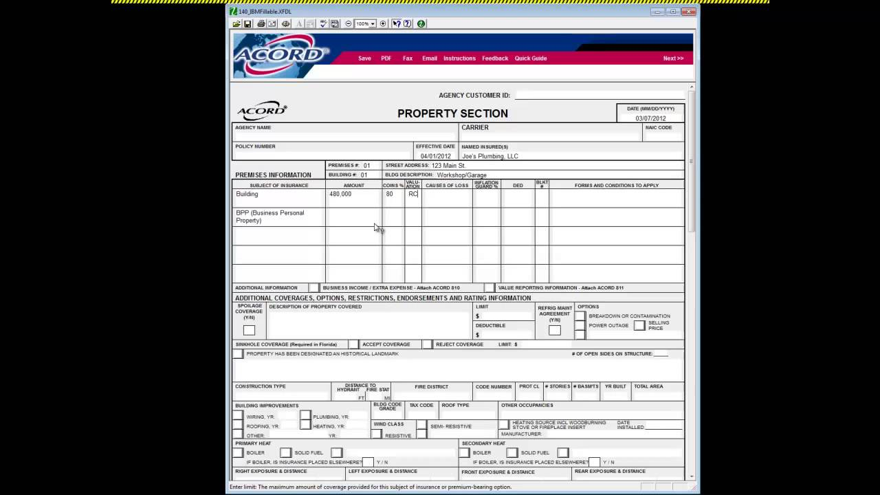 Acord 140 - How To Complete Insurance Agency Quoting Forms - YouTube