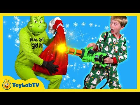 GRINCH TAKES TOYS! Santa Claus Christmas Surprise Toys for Kids w/ Prank & Hot Wheels Toy Cars