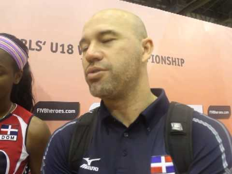 Dominican republic volleyball team interviewed after match against Slovenia in FIVB U'18.