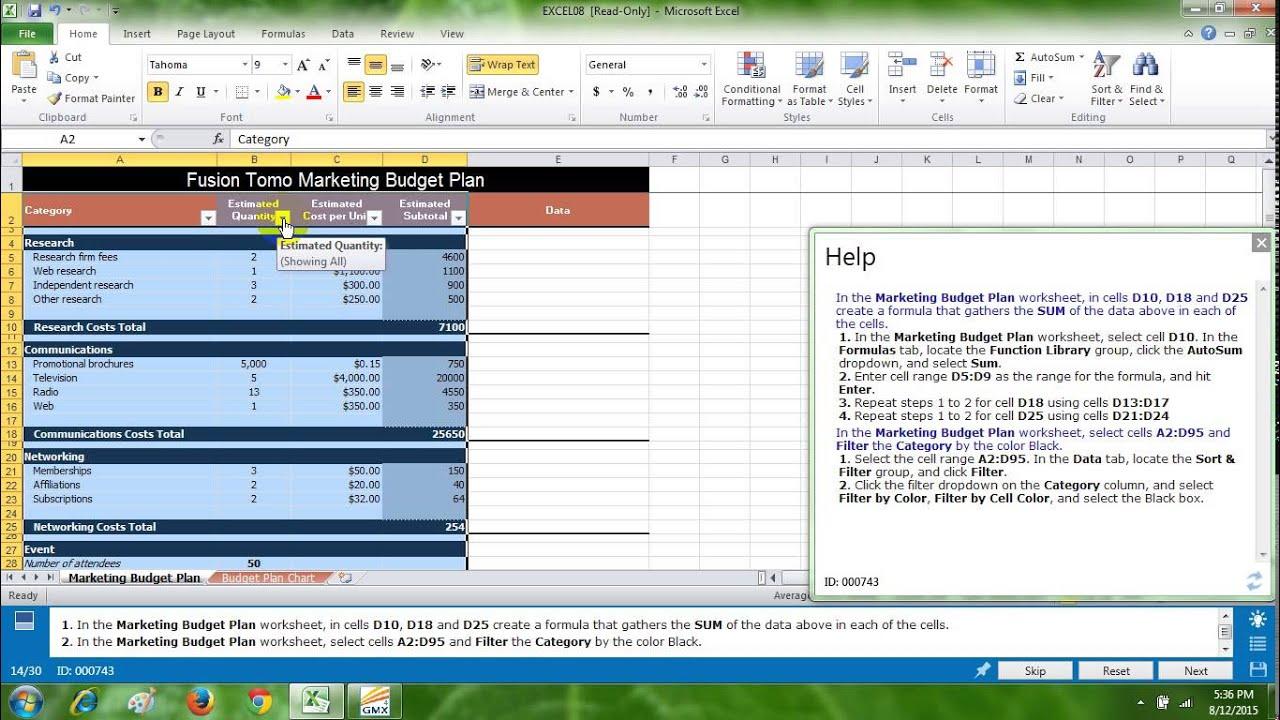 Thi Mos Excel Test 2 Training Gmetrix