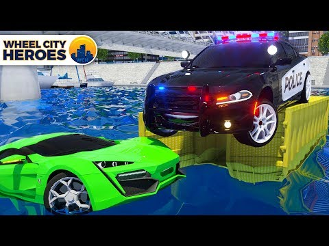 Fire Truck Frank, Sergeant Lucas the Police getting out Sport Car from Water - Wheel City Heroes WCH