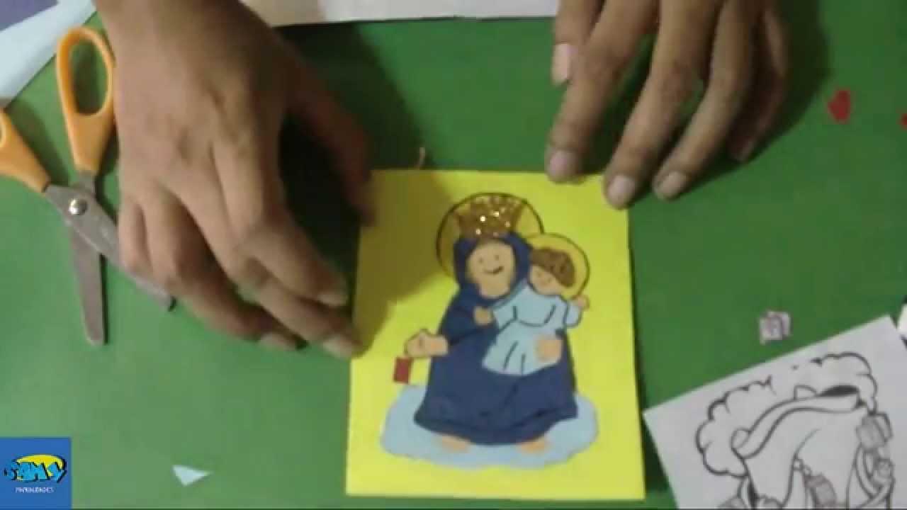 Una Tarjeta Facil de Hacer Recuerdo para la Virgen del Carmen - YouTube