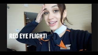 RED EYE FLIGHT! DAY IN THE LIFE OF A FLIGHT ATTENDANT