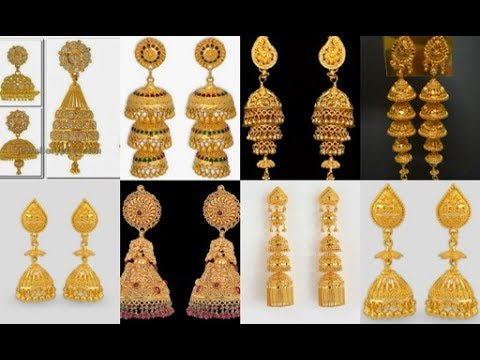 1c7e13b44e385 Latest gold jhumka traditional style designs//Elegant Gold Jhumka Earrings  Models from Bluestone
