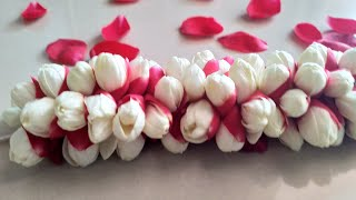 How to string rose petals and jasmine flower garland/rose petals garland/rose bridal jadai veni