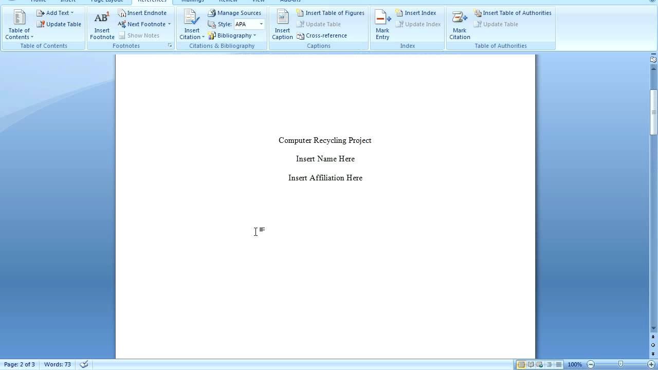 Office 2007 apa formatting youtube for Office 2007 apa template