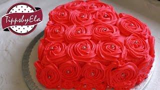 Muttertagstorte Rosen Torte Herztorte Valentinstag Torte Sahne Torte selber machen Anleitung