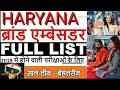 Haryana Brand Ambassador  Full List || ब्रांड एम्बेसडर || brand ambassador in hindi