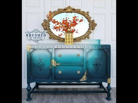 Blended teal and gold leaf buffet with Dixie belle paint