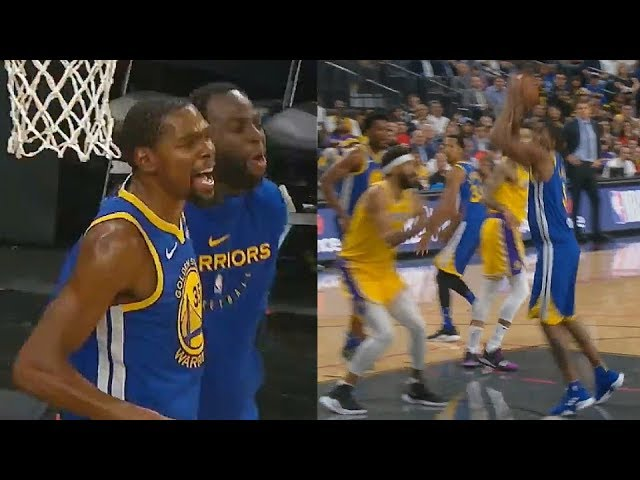 kevin-durant-trash-talks-javale-mcgee-with-draymond-after-he-gets-dunked-on-lakers-vs-warriors