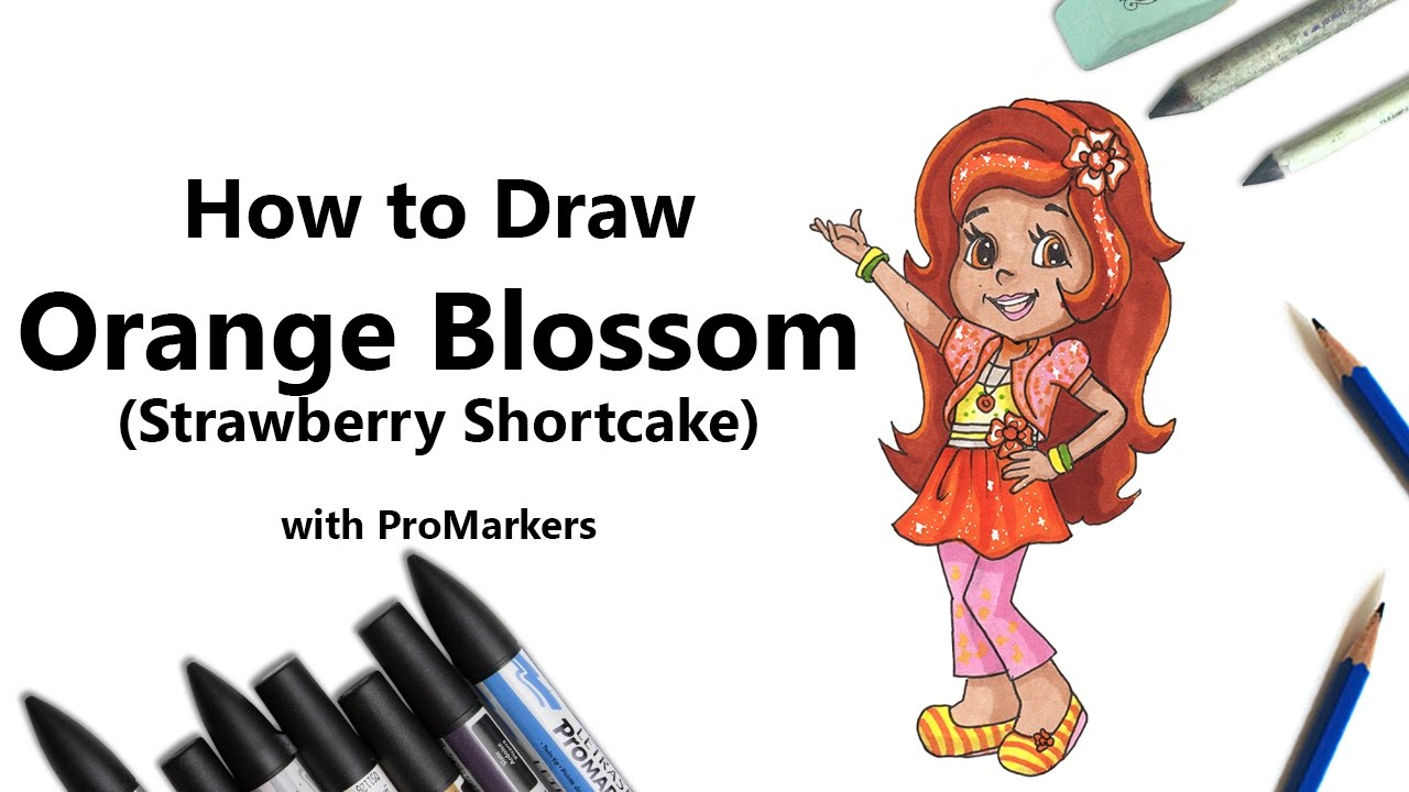 how to draw and color orange blossom from strawberry shortcake with