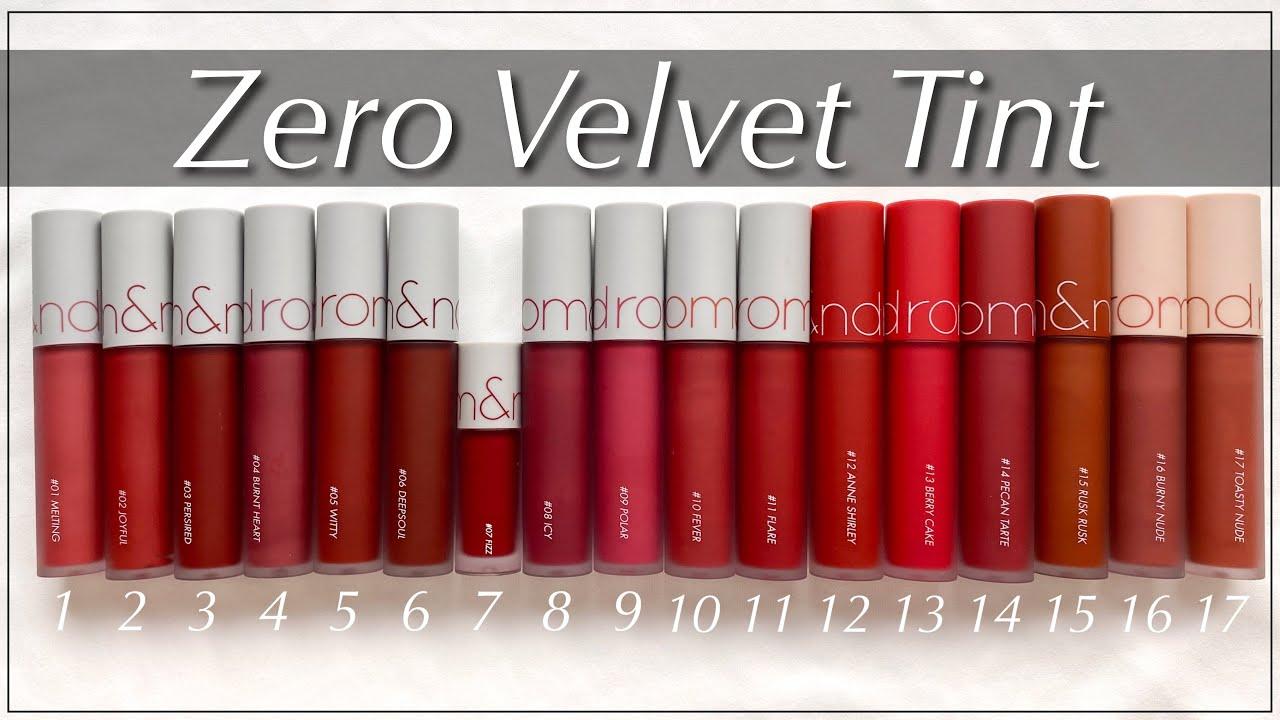 【全17色/2020新色】ロムアンドのゼロベルベットティントを全色スウォッチ!カラー分類やおすすめの使い方を紹介します