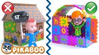 URI, OTIS & MONKEY BUILDS ABC PLAYHOUSE | Cartoon for Kids | Pretend Play with PiKaBOO