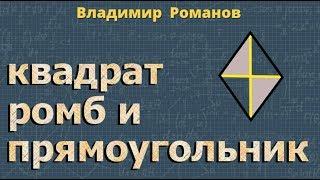 геометрия ПРЯМОУГОЛЬНИК РОМБ И КВАДРАТ 8 класс