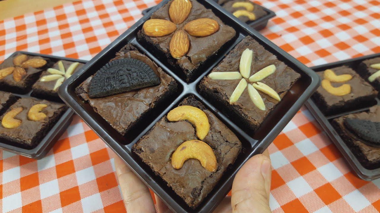บราวนี่ หน้าฟิล์ม สูตรลดต้นทุน Brownie ไม่ใส่เนย #หม้ออบลมร้อน พร้อมคำนวณต้นทุน | new new eat food