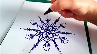 Как нарисовать снежинку к Новому Году или Рождеству. Просто